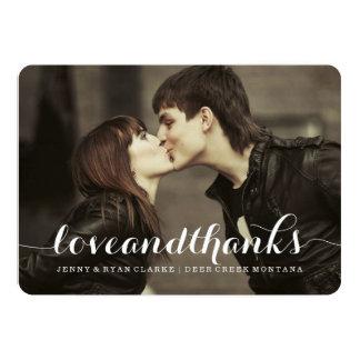 LOVE & THANKS SCRIPT | WEDDING THANK YOU PHOTO 13 CM X 18 CM INVITATION CARD