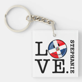 Love the Dominican Republic Smiling Flag Key Ring