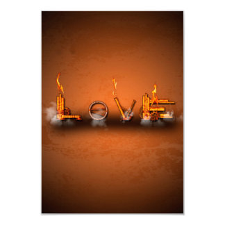 Love, the word in a machine style 3.5x5 paper invitation card