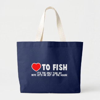 Love To Fish Large Tote Bag