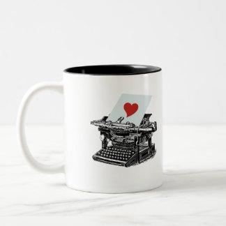 Love Typewriter Two-Tone Coffee Mug