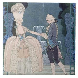 Love under the Fountain, illustration for 'Fetes G Ceramic Tiles