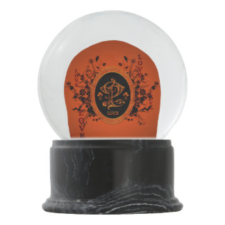 Love with roses and beautiful flowers snow globe