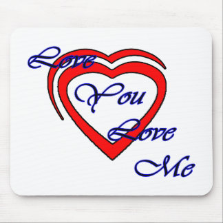 Love You Love Me Blue Hearts Red The MUSEUM Zazzle Mousepads