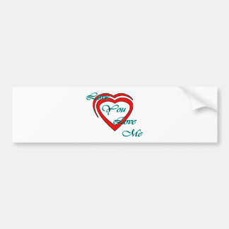 Love You Love Me Cyan Hearts Red The MUSEUM Zazzle Bumper Sticker