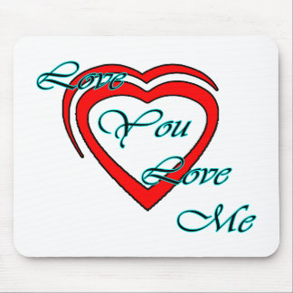 Love You Love Me Cyan Hearts Red The MUSEUM Zazzle Mousepad