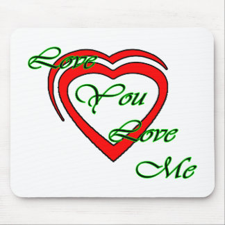Love You Love Me Green Hearts Red The MUSEUM Zazzl Mouse Pad