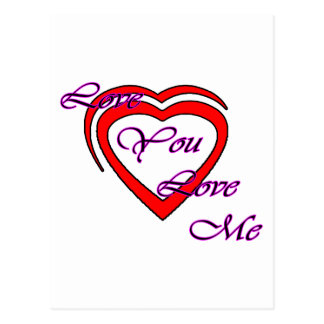 Love You Love Me Magenta Hearts Red The MUSEUM Zaz Post Card