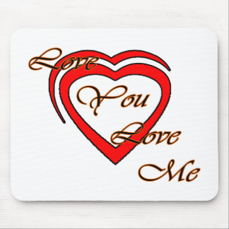 Love You Love Me Orange Hearts Red The MUSEUM Zazz Mousepad