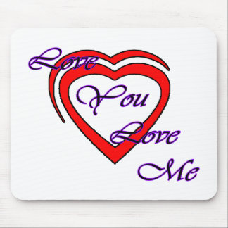 Love You Love Me Purple Hearts Red The MUSEUM Zazz Mousepads