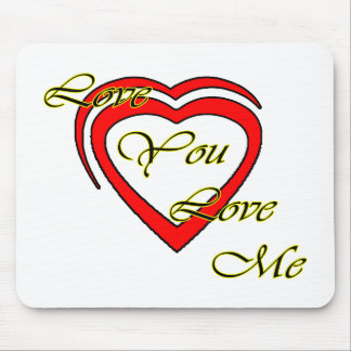 Love You Love Me Yellow Hearts Red The MUSEUM Zazz Mouse Pads
