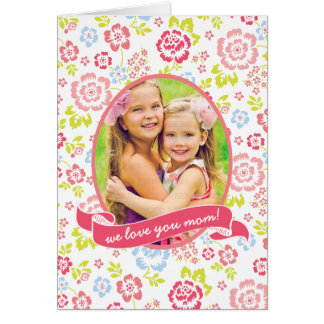 Love you Mum Floral Personalised Custom Photo Card
