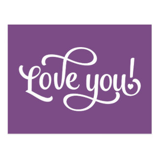 Love You Purple And White - Wedding Engagement Postcard