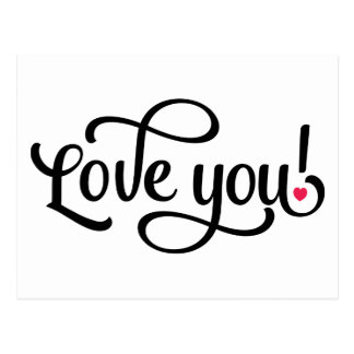 Love You Red And White - Wedding Engagement Postcard