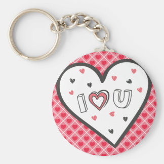 Love You So Much Romance Pink Heart Cute Sweet Basic Round Button Key Ring