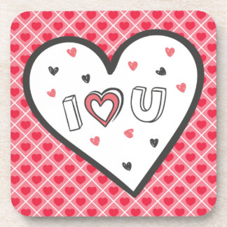Love You So Much Romance Pink Heart Cute Sweet Drink Coaster