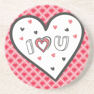 Love You So Much Romance Pink Heart Cute Sweet Drink Coasters