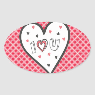 Love You So Much Romance Pink Heart Cute Sweet Oval Sticker
