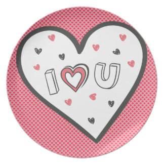 Love You So Much Romance Pink Heart Cute Sweet Party Plate