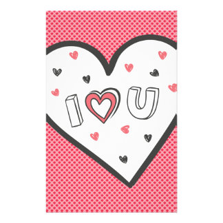 Love You So Much Romance Pink Heart Cute Sweet Personalized Stationery