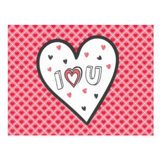 Love You So Much Romance Pink Heart Cute Sweet Postcard