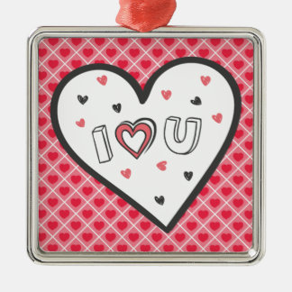 Love You So Much Romance Pink Heart Cute Sweet Silver-Colored Square Decoration