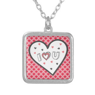 Love You So Much Romance Pink Heart Cute Sweet Square Pendant Necklace