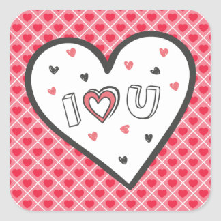 Love You So Much Romance Pink Heart Cute Sweet Square Sticker
