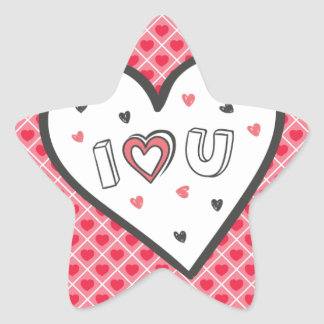 Love You So Much Romance Pink Heart Cute Sweet Star Sticker