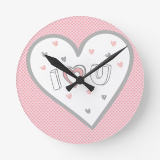 Love You So Much Romance Pink Heart Cute Sweet Wallclock