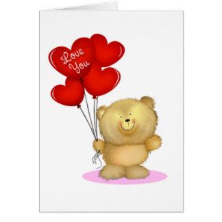 Love You Teddy Bear holding heart ballons Cards