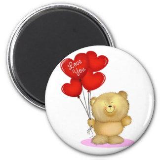 Love You Teddy Bear holding heart ballons Fridge Magnet