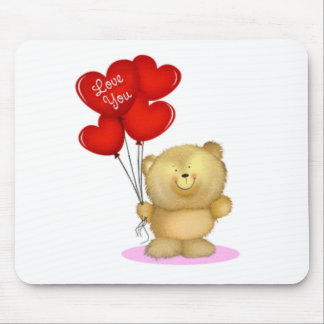 Love You Teddy Bear holding heart ballons Mouse Pad