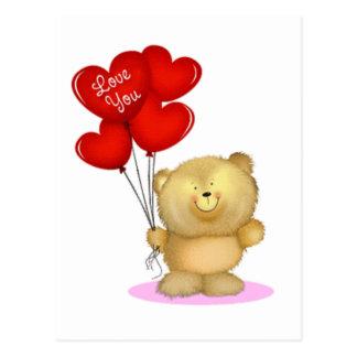 Love You Teddy Bear holding heart ballons Postcard