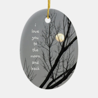Love you to the moon and back, winter sky & moon christmas ornament