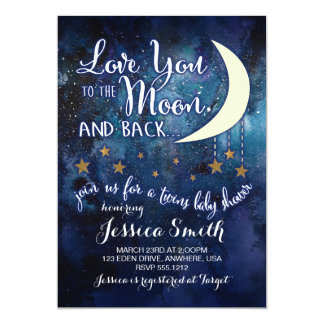 Love you to the Moon & Back Twin Shower Invitation