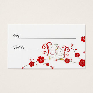 Lovebirds and Cherry Blossoms Place Cards