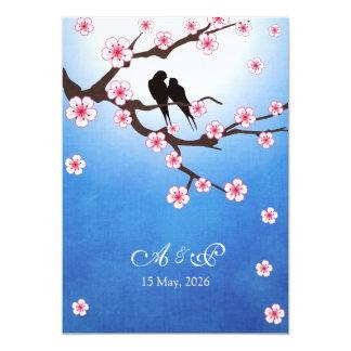 Lovebirds and Sakura - Blue Background 13 Cm X 18 Cm Invitation Card