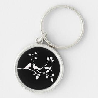 Lovebirds Black  White  Wedding Bridal Shower Love Key Ring