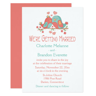 Lovebirds Blue Green Turquoise Pink Wedding Card