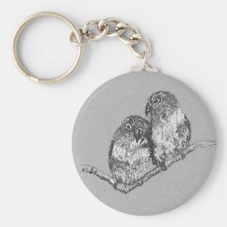 Lovebirds Key ring, Bird Art Key Ring
