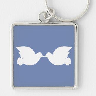 Lovebirds / Large (5.1 cm) Premium Square Key Ring