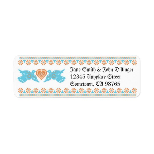 Lovebirds Return Address Label - Aqua & Orange