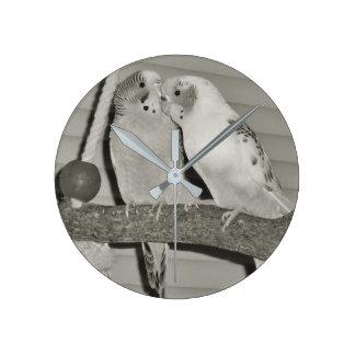 Lovebirds Round Clock