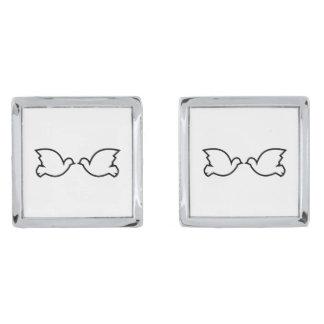 Lovebirds / Square Cufflinks Silver Finish Cufflinks