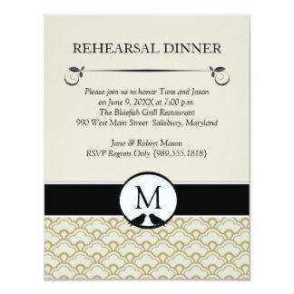 Lovebirds Wedding Rehearsal Dinner Invitations
