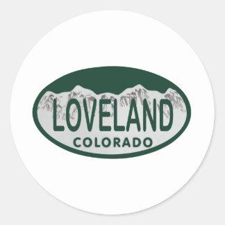 Loveland license oval classic round sticker