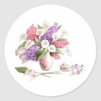 LoveLetters & Lilacs Round Sticker