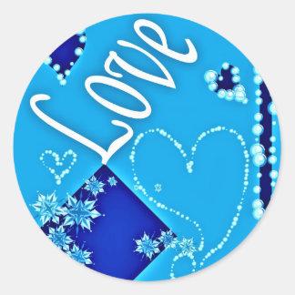 Lovely Blue Design Round Sticker