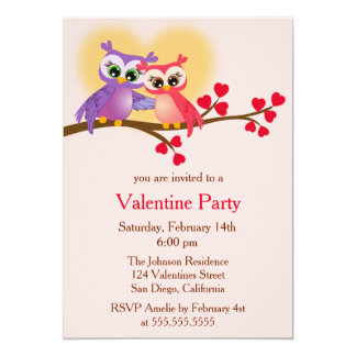 Lovely Couple Owls on a Branch Valentine's Day 13 Cm X 18 Cm Invitation Card